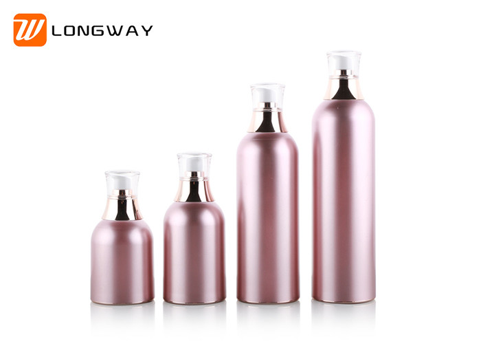 Aluminum Looking Acrylic Cosmetic Bottle / Airless Bottles W Pump & Cover