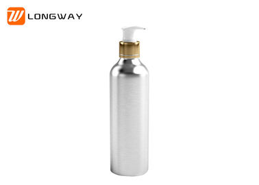 China Round Silver Aluminum Cosmetic Containers , OEM Lotion Pump Bottle 250ml distributor